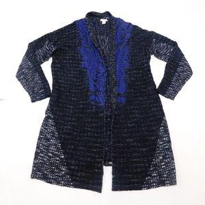 Chico's 2 Black Blue Open Cardigan  Cotton Blend